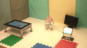 The ALIZ-E project studied how social robots could support children during a stay in hospital: this is the setup used at the San Rafaelle hospital in Milan.